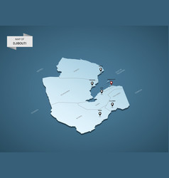 isometric 3d djibouti map concept vector image