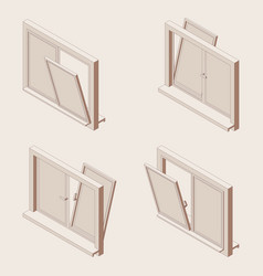 Isometric outline set open windows vector