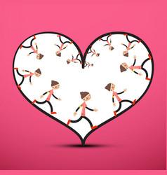 Jogger inside heart on pink background running vector