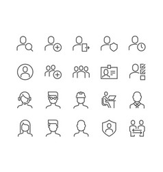 Line users icons vector