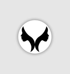 Logo round design african american women face vector