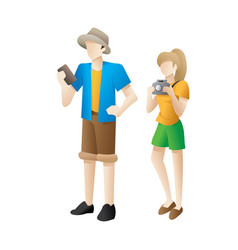man and woman cute cartoon traveler vector image
