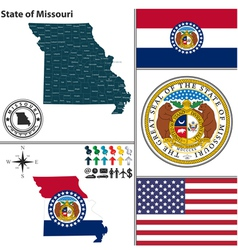Map of Missouri with seal vector