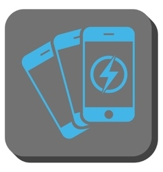 Mobile phones energy rounded square button vector