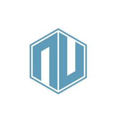 n hexagonal geometric negative space logo vector image