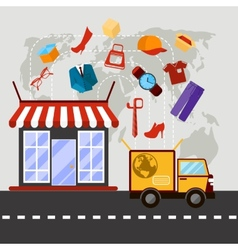 Online store with delivery service concept vector image