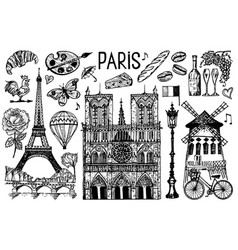 paris set in vintage retro style france eiffel vector image
