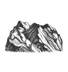 Peak rocky mountain landscape hand drawn vector