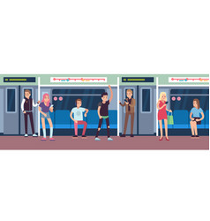 people in subway urban underground mass transit vector image