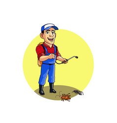 Pest control service man kills ant and cockroach vector