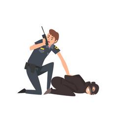 Policeman caught criminal police officer arrested vector