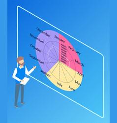 presentation diagram months information vector image