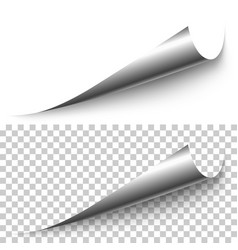Realistic silver foil corner with shadow vector