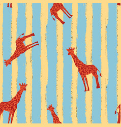 red giraffe seamless pattern stripe blue yellow vector image