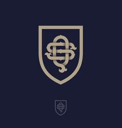 S q monogram shield vector