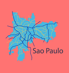 Sao paulo brazil flat map isolated on background vector