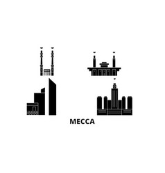 Saudi arabia mecca flat travel skyline set saudi vector
