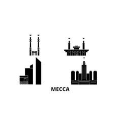 saudi arabia mecca flat travel skyline set saudi vector image
