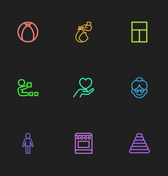Set of 9 editable relatives icons includes vector
