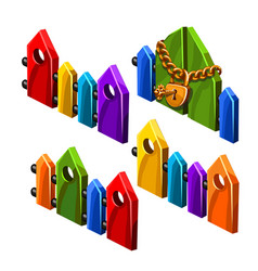 set of bright colored wooden fences isolated on vector image