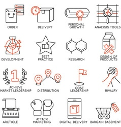 Set of icons related to business management - 8 vector