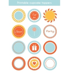 Set printable cupcake toppers labels vector