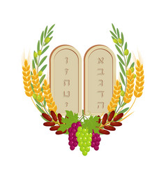 Shavuot tablets of stone and fruits vector
