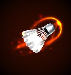 Shuttlecock on fire vector