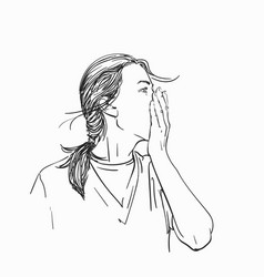 Sketch young woman covering her mouth vector