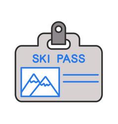 ski pass badge color icon vector image