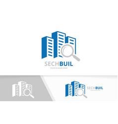 Skyscraper and loupe logo combination vector