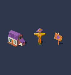 small farm house and scarecrow mobile game user vector image