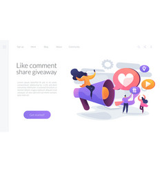 Social network promotion landing page concept vector