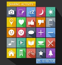 Social Share Activity Flat Icon Long Shadow vector image
