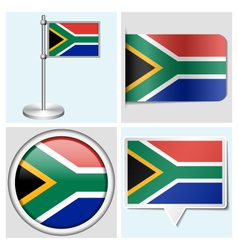 South Africa flag - sticker button label vector image