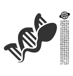 Sperm replication icon with work bonus vector