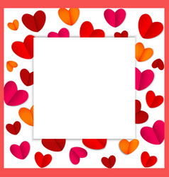 square frame of bright hearts for valentine s day vector image