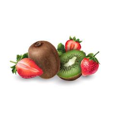Strawberry and kiwi vector