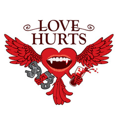 T-shirt design with winged heart and vampire smile vector