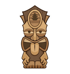 Tribal tiki idol icon cartoon style vector
