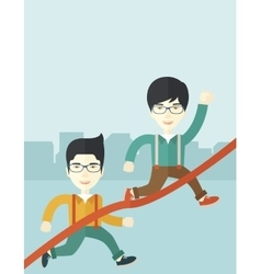 Two asian guy running to finish line vector image