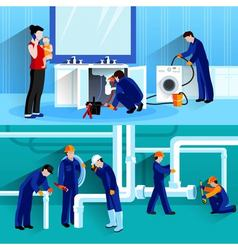 Two Plumber Horizontal Compositions vector