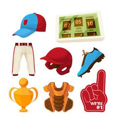 various symbols baseball vector image