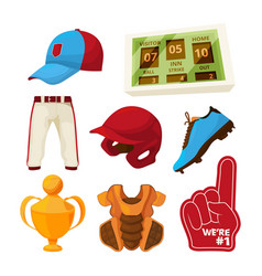 various symbols of baseball vector image