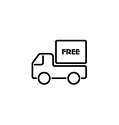 web line icon free delivery black on white vector image