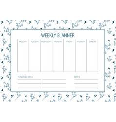 weekly planer template vector image