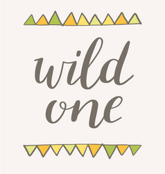 Wild one poster design in tribal style vector