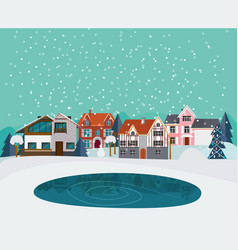 Winter countryside landscape flat template vector