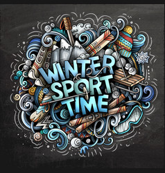 winter sport time hand drawn cartoon doodles vector image