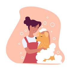 Woman washing fur domesticated animal vector